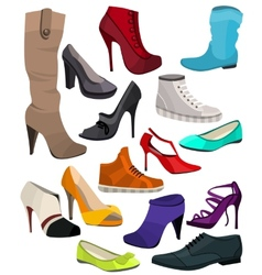 Womens fashion collection of shoes vector