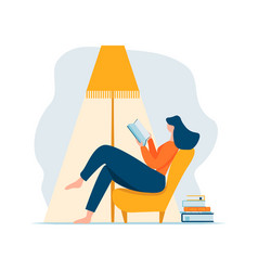 Young adult woman reading book relaxing sitting in vector
