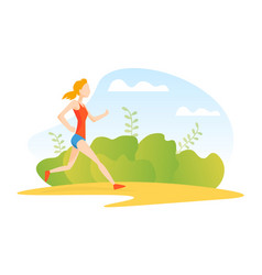 Young woman jogging or running in park girl vector