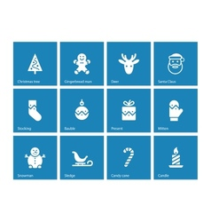 Christmas icons on blue background vector image