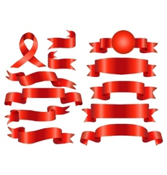 The collection red ribbons banners vector image