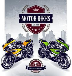 Two sport motorbikes vector