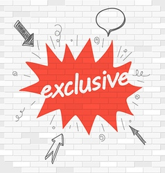 White brick wall and graffiti label Exclusive vector image vector image