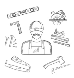 Carpenter and toolbox tools sketches vector