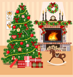christmas decorated room with christmas tree vector image vector image