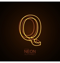 Neon 3D letter Q vector image vector image