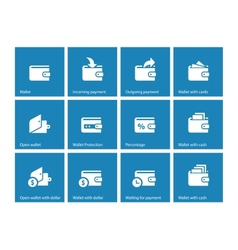 Personal wallet icons on blue background vector image