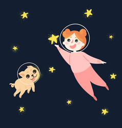 young girl and her dog in space wearing helmets vector image vector image