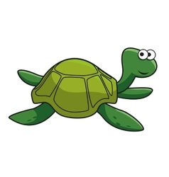 Cartoon smiling green turtle character vector image vector image