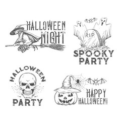 halloween sketch icons for holiday night vector image
