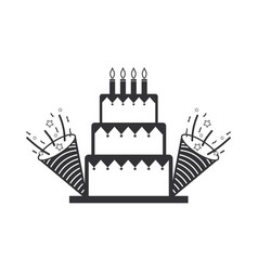 Line cake with party horn to birthday celebration vector