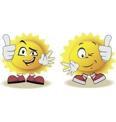 Live sun with face arms and feet vector image
