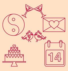 set valentines day design outline emblems vector image