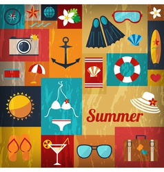 Summer retro flat background vector
