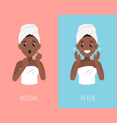 black woman skin care after face treatment vector image