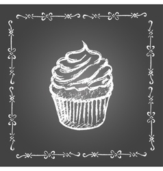 Chalk cupcake and vintage frame vector image vector image