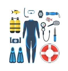 Diving Equipment Set vector image vector image
