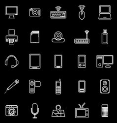 Gadget line icons on black background vector image