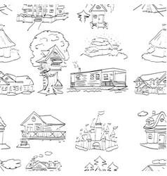habitation set seamless pattern design vector image vector image