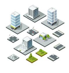 set of isometric city landscape design elements vector image