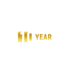 10 year happy birthday gold logo on white vector image