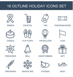 16 holiday icons vector image