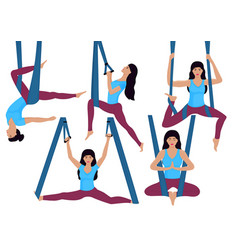A young girl doing aerial yoga exercises in a vector