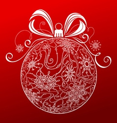 Abstract Christmas ball of snowflakes vector image