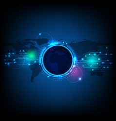 abstract futuristic eyeball on circuit board vector image