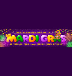 advertising banner template for mardi gras vector image