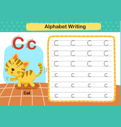 Alphabet letter c-cat exercise with cartoon vector