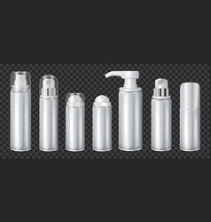 Aluminium spray cans set transparent vector