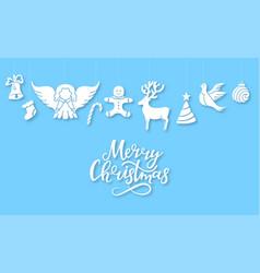 angel deer lollipop gingerbread man bell dove vector image