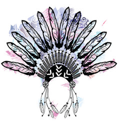 Aztec style headdress made out of feathers symbol vector