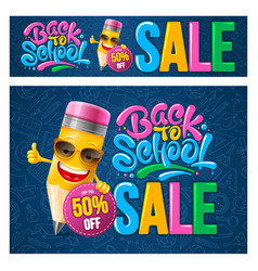 back to school sale banners set vector image