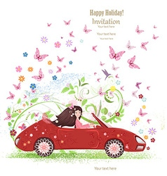 beautiful girl is driving car the art floral red vector image