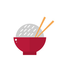 bowl with rice and sticks culture traditional vector image