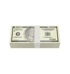 bundle of money banknotes isolated isometric icon vector image