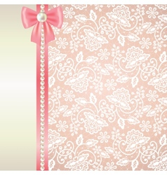 card with white lace on pink background vector image