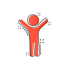 cartoon happy man with hands up icon in comic vector image