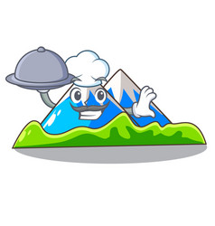 Chef with food mountain scenery isolated from the vector
