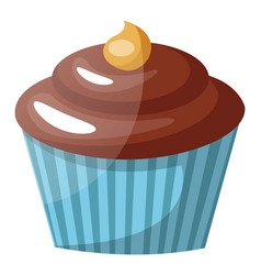 chocolate cupcake with peanut butter on top on vector image