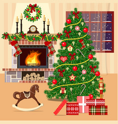Christmas decorated room with xmas tree fireplace vector