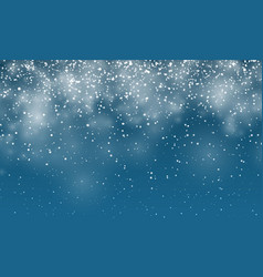 Christmas snow falling snowflakes on dark blue vector