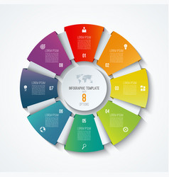 circle infographic template with 8 options vector image