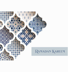 close-up blue ornamental arabic tiles patterns vector image