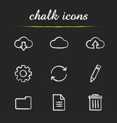 cloud computing chalk icons set vector image