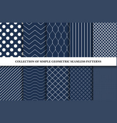 Collection of classic seamless simple patterns vector