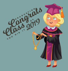 Congrats class of 2019 flat colorful poster vector
