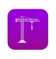 Construction crane icon digital purple vector